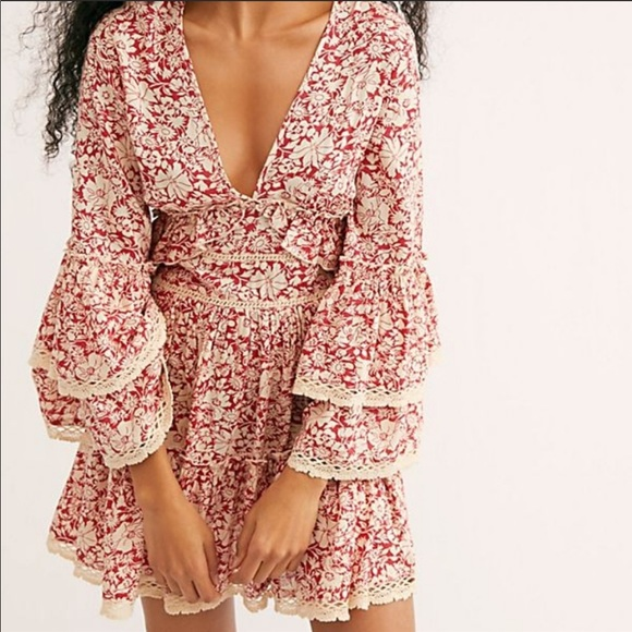 NWOT Free People Kristall Red Floral Mini Dress